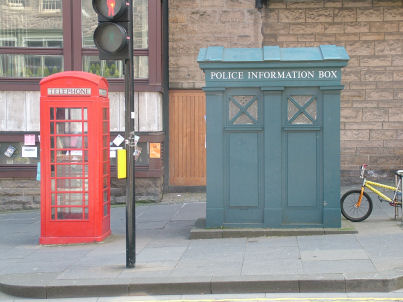 Edinburgh Bed and Breakfast - old communications in Edinburgh, a police box and and old style phone box on the Royal Mile